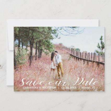 SAVE OUR DATE Wedding  4 PHOTOS Collage Blue Save The Date