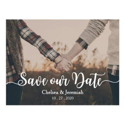 Save Our Date White Script Cards