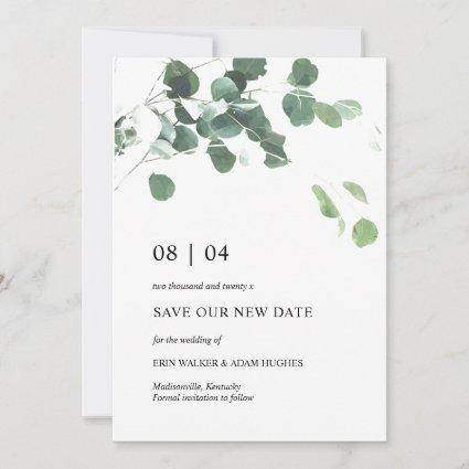 Save Our New Date Eucalyptus Leaves Wedding Card