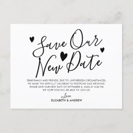 Save Our New Date Plans Heart Wedding Postponement Announcement