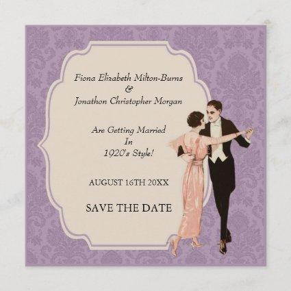 Save The Date 1920's Vintage Dancing Couple