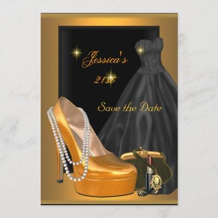 Save the Date 21st Birthday Party Gold Orange