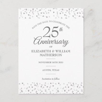 Save the Date 25th Anniversary Silver Love Hearts