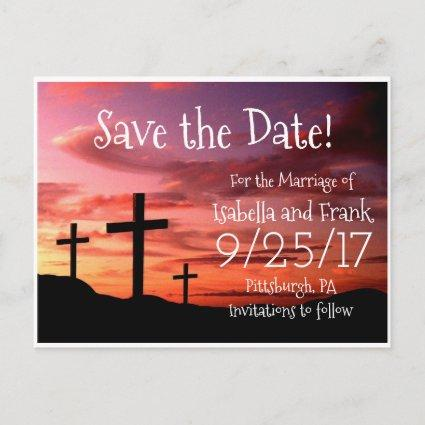 Save The Date - 3 Cross Religous Sunset