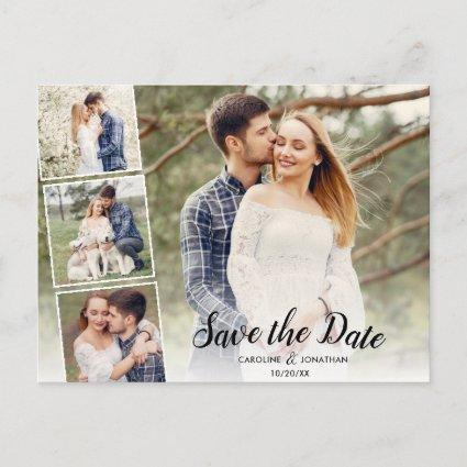 Save the Date 4 Photos Collage Pretty Text Overlay