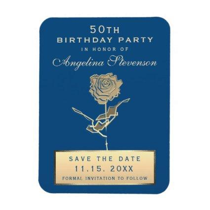 Save The Date 50th Birthday Classic Blue and Gold Magnet