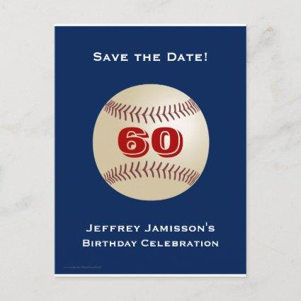 Save the Date 60th Birthday Baseball