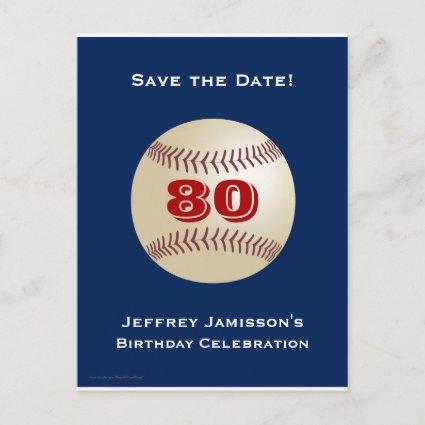 Save the Date 80th Birthday Baseball