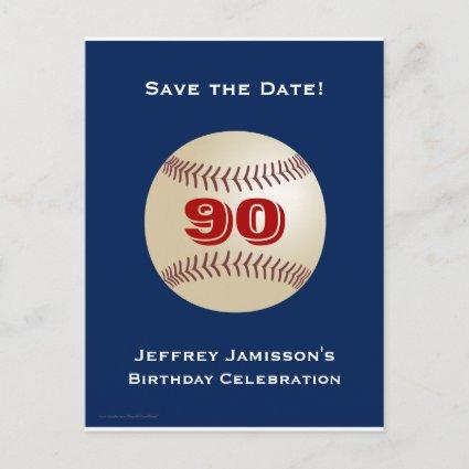 Save the Date 90th Birthday Baseball