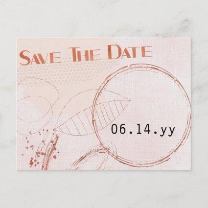 Save the Date Abstract Shapes Copper Rose Gold Announcement
