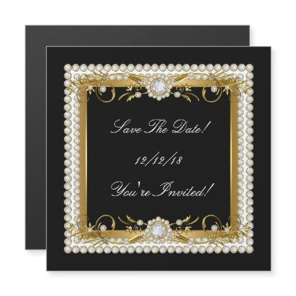 Save The Date All Occasions Diamond Trim Gold Magnetic Invitation