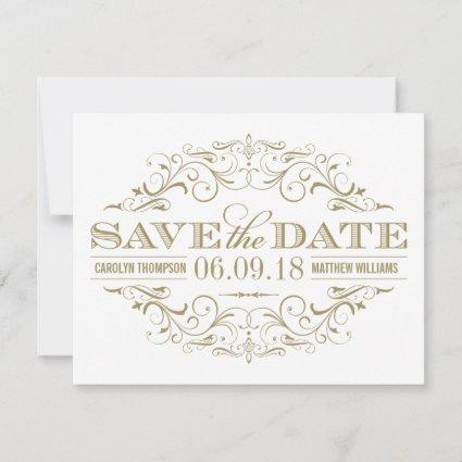 Save the Date | Antique Gold and White Flourish