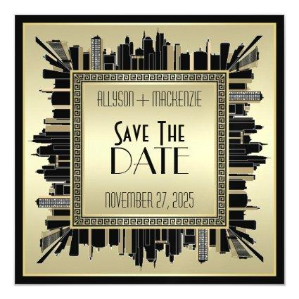 Save the Date Art Deco Champagne Gold Gatsby Glam Magnetic Invitation