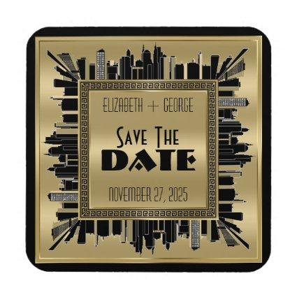 Save the Date Art Deco Gatsby Glamour Gold Black Beverage Coaster