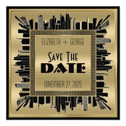 Save the Date Art Deco Gatsby Glamour Gold Black Invitation