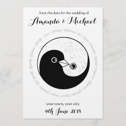 SAVE THE DATE b/w YinYang doves wedding Cards