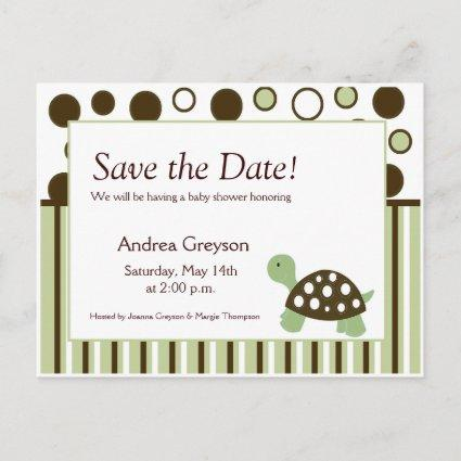 SAVE THE DATE Baby Shower Mod Dot Turtle s