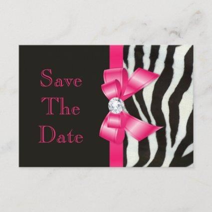 Save The Date Baby Shower Zebra Hot Pink Bow