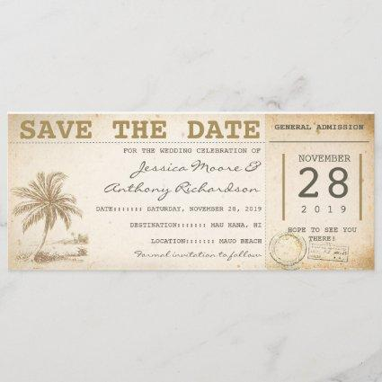 save the date beach palm tickets - invitations