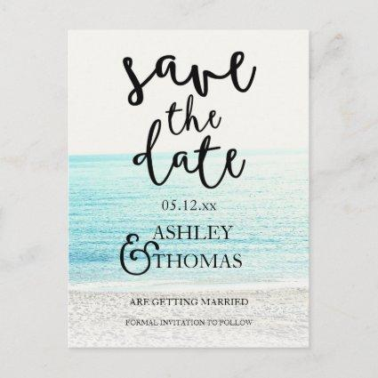 Save the Date beach photography typography wedding Announcement