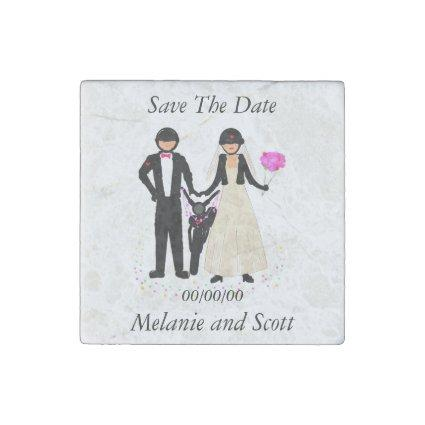 Save The Date Biker Wedding magnets, stone Magnets