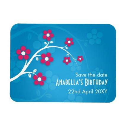 Save the Date Birthday Cherry Blossom Blue Magnet