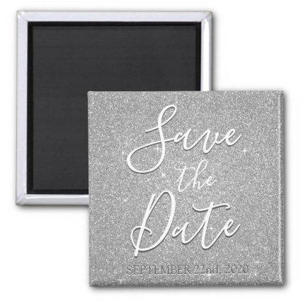 Save the Date Birthday Silver Glitter Sparkle Magnet