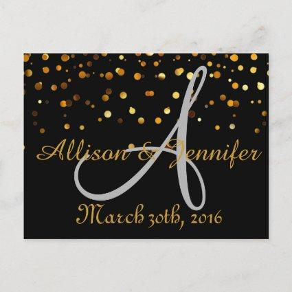 Black and Gold Glitter Faux Foil Announcements Cards