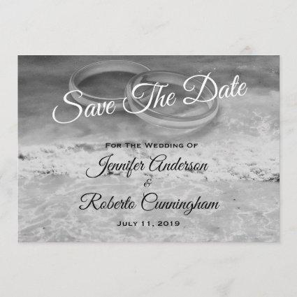 Save The Date Black and White Beach