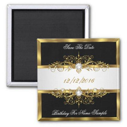 Save The Date Black Pearls White Gold Birthday Magnet