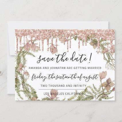 Save The Date Black Rose Floral Woodland Drips