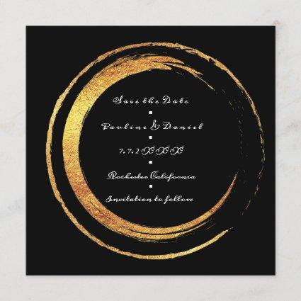 Save The Date Black White Golden Circles Lux