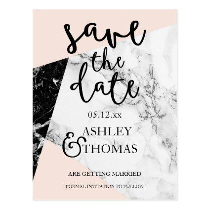 black white marble blush script Cards