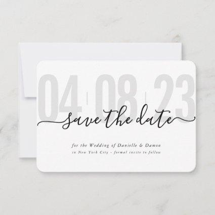 SAVE THE DATE block modern calligraphy gray black RSVP Card