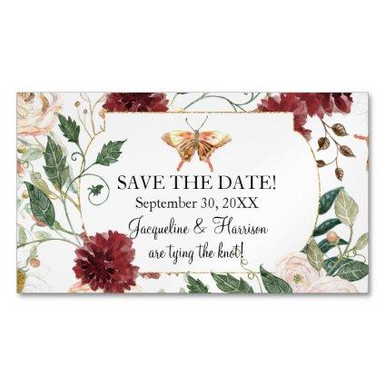 Save the Date Blush Pink White Butterfly Floral Business Card Magnet