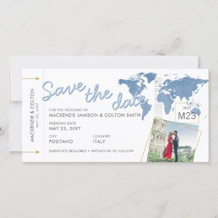 Save the Date Boarding Pass Photo Blue World Map