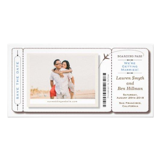 Save the date Boarding Pass Photo Card