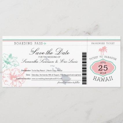 Save the Date Boarding Pass to Hawaii