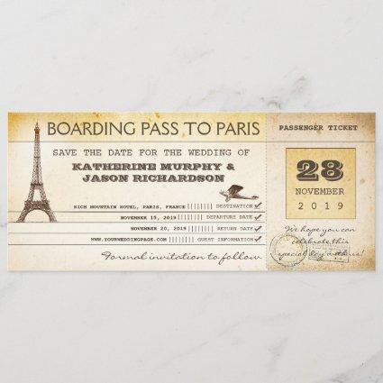 save the date boarding pass to paris france
