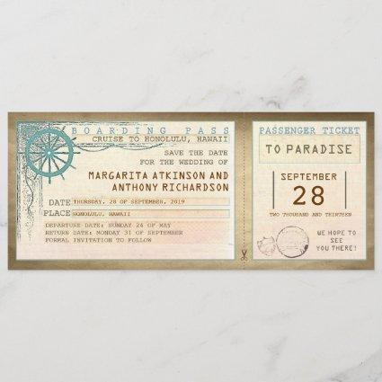 save the date boarding pass-vintage tickets