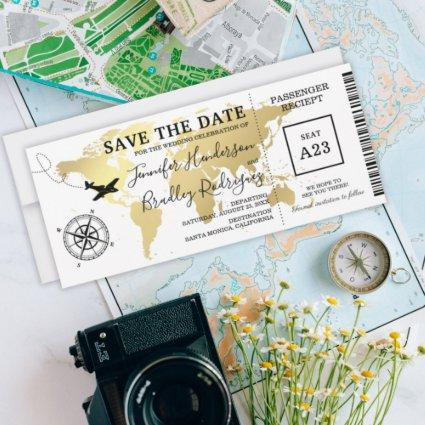 Save the Date Boarding Pass World Map