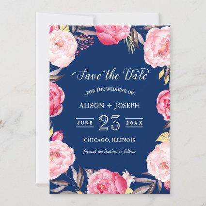 Save the Date | Botanical Floral Wreath Navy Blue