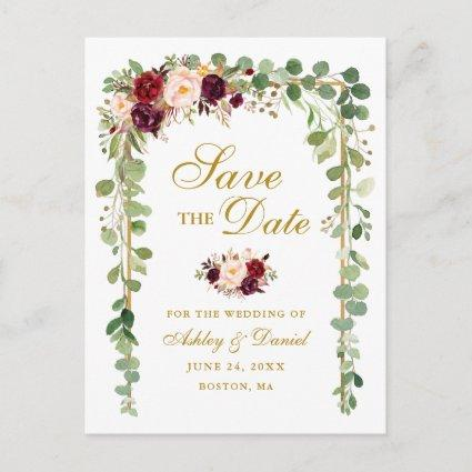 Save The Date Botanical Green Burgundy Floral Gold Announcement