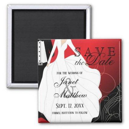 Save the Date - Bride and Groom - Red Magnets