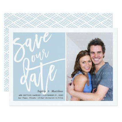 SAVE THE DATE brush lettered script duck egg blue Invitation