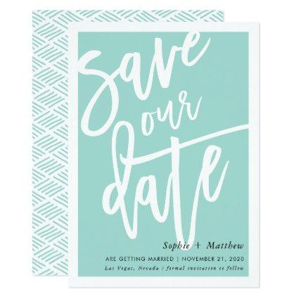 SAVE THE DATE brush lettered script mint green Invitation