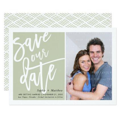 SAVE THE DATE brush lettered script sage green Invitation