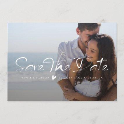 Save The Date Brushed Overlay Photo Announcement