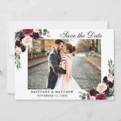 Save The Date Burgundy Blue Floral Photo Cards