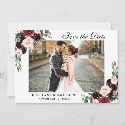 Save The Date Burgundy Blue Floral Photo Card